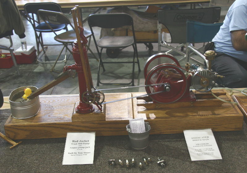 Associated Hired Man engine model with Red Jacket wind mill pump by Tom Stuart