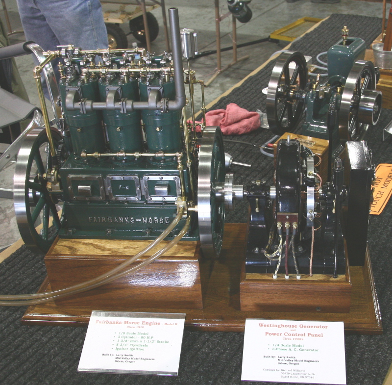 Fairbanks Morse engine and Westinghouse generator models by Larry Smith